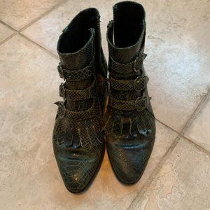 Modern Vice Green Snakeskin Ankle Booties